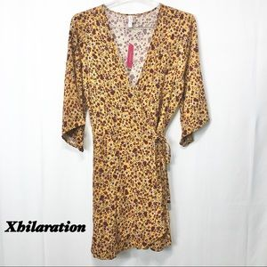 NWT-Xhilaration Dark Yellow Floral Wrap dress XL